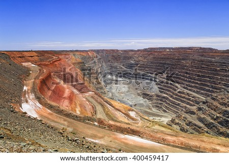 Top to bottom of the biggest australian gold mine - super pit in Kalgoorlie, Western AUstralia, on a sunny summer day.