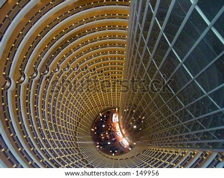 top to bottom view of JIN Mao Building in shanghai china - stock photo