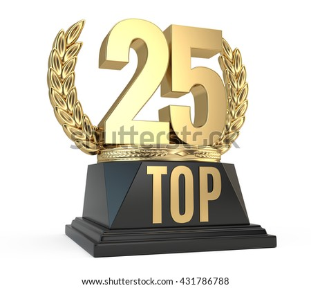 Top 25 twenty five award cup symbol isolated on white background. 3d render - stock photo