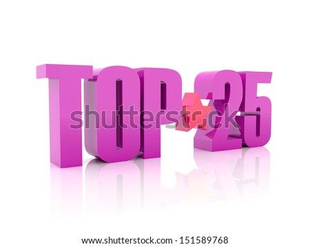Top twenty-five violet word isolated on white background. 3D illustration. - stock photo