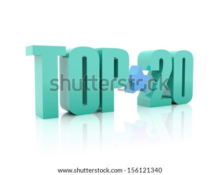 Top twenty word  isolated on white background. 3D illustration.