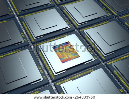 top up view of an array of CPUs, one cpu is without the cover and the circuits are visible (3d render) - stock photo