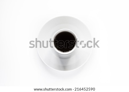 top view a cup of Black coffee