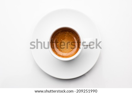 top view a cup of espresso coffee - stock photo