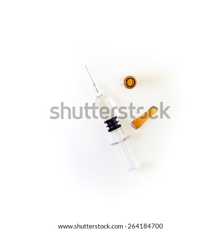 Top view,ampules with syringe,medicine concept - stock photo