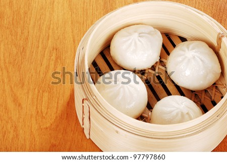 Top view asian pork bun dumplings - stock photo