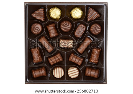 top view assorted box chocolates - stock photo