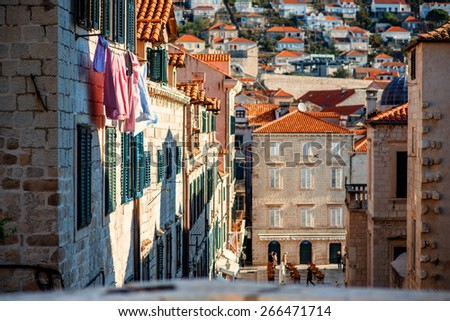 Top view at old buildings in Dubrovnik city - stock photo