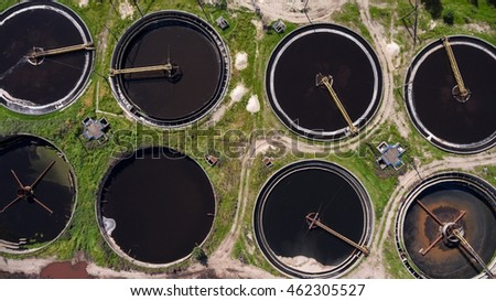 Top view at the round clarifiers used for removing solid particulates or suspended solids from liquid for clarification. Water treatment plant