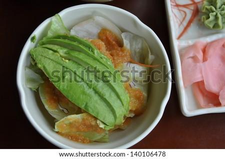 Top view avocado salad - stock photo