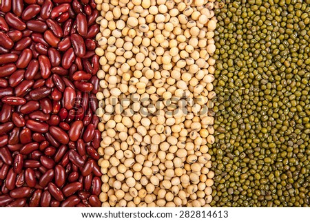 Top view background of different varieties of beans: red kidney beans, soybeans, mung beans