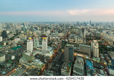Top view, Bangkok business area city downtown beautiful skyline, Thailand - stock photo