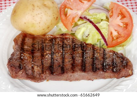 top view barbecue strip loin steak - stock photo