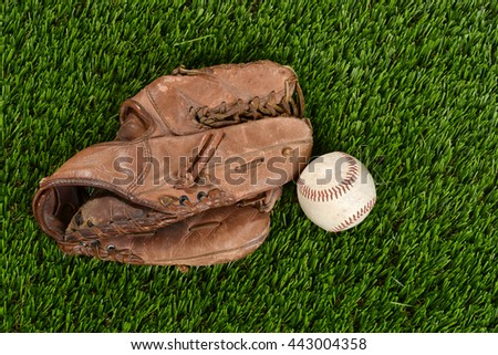 top view baseball glove and ball