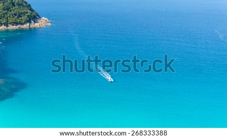 top view beautiful seascape and small boat - stock photo