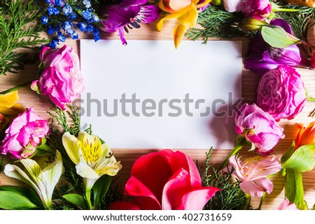 Top view blank page pink spring stock photo royalty free 402731659 top view blank page and pink spring flowers on wooden table background mightylinksfo