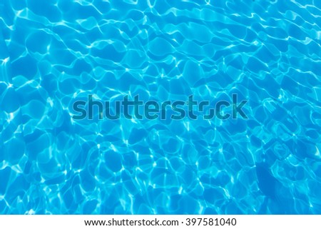 top view blue water caustics background - stock photo