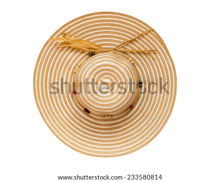 Top view brown floppy hat isolated on white background - stock photo