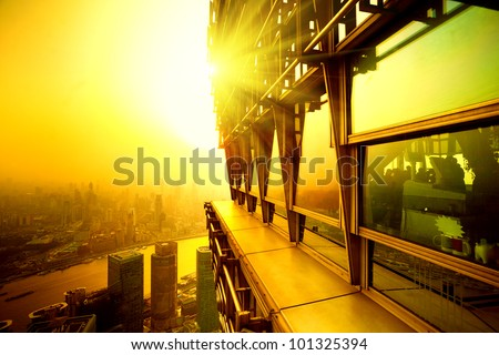 Top view building sunset time in shanghai - stock photo