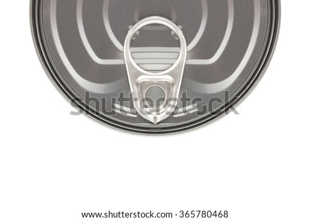 Top view cap ring of tin can isolated on white background. - stock photo