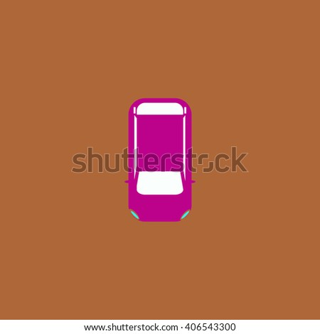 top view car Flat icon on color background. Simple colorful pictogram - stock photo