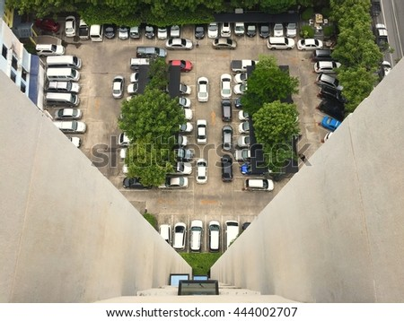 Top view car park from high building tower