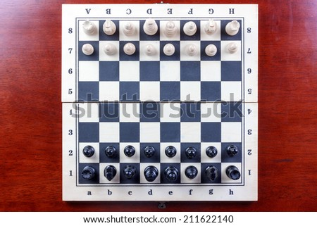 top view chess board set up to begin a game  sc 1 st  Shutterstock & Top View Chess Board Set Begin Stock Photo (Royalty Free) 211622140 ...
