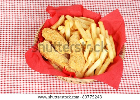 top view chicken fingers and french fries - stock photo