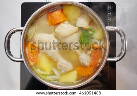 top view Chicken soup in the pot