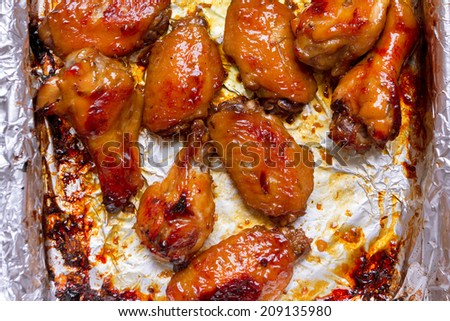 Top view chicken wings  - stock photo