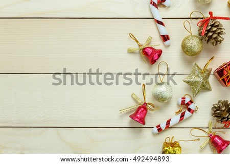 Top view Christmas decoration and ornament on wooden table with copy space.