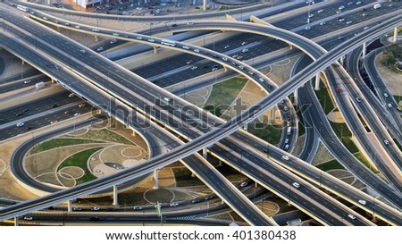 Top view city traffic of highway and bridge, logistics - stock photo