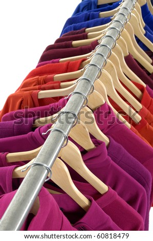 Top view Close up colorful shirt rack