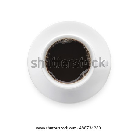 Top view - Coffee cup isolate on white background. Hot black coffee mug with clip path