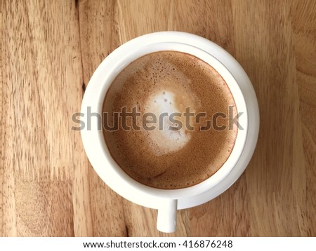 Top view coffee on wooden background