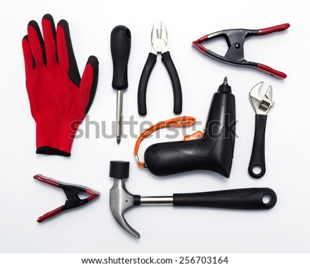 Top view Collection hand tools isolated on white background
