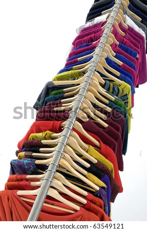 Top view colorful clothing on hanger