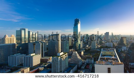 Top view Commercial building in Bangkok city at twilight with skyline,Thailand - stock photo