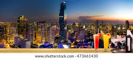Top view Commercial building in Bangkok city at twilight with skyline,Thailand