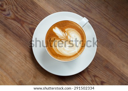 Top view cup of coffee latte