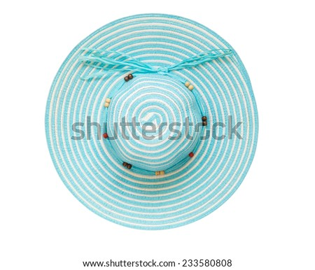 Top view cyan floppy hat isolated on white background - stock photo
