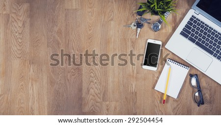 Top view desk hero header with copy space - stock photo