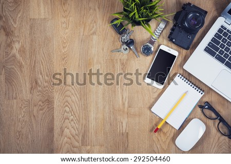 Top view desk with copy space - stock photo