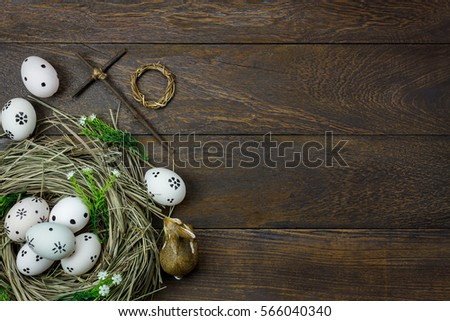 Top View Easter BackgroundHappy Eggs Pained Also Rabbit And Cross On Nest