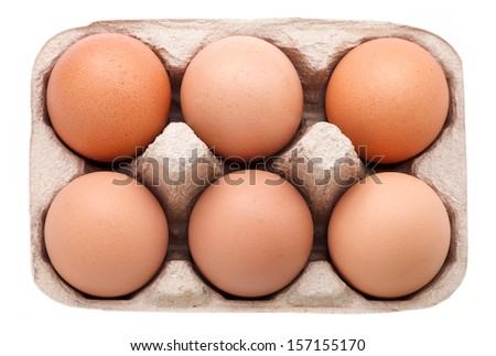 Top view eggs in the package - stock photo