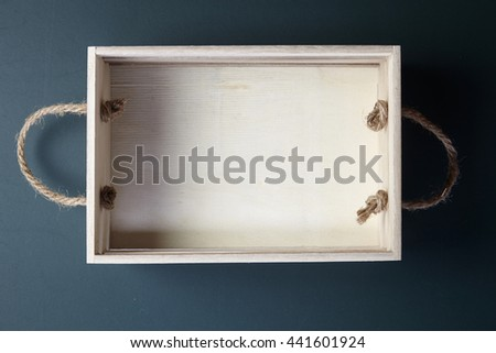 top view empty wooden crate