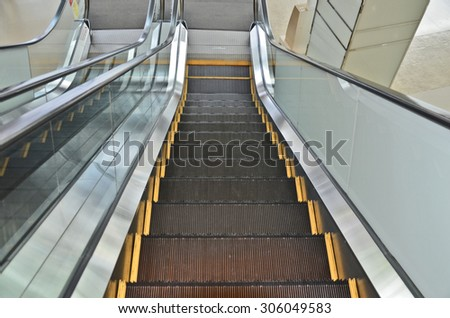 Top view escalator in the building