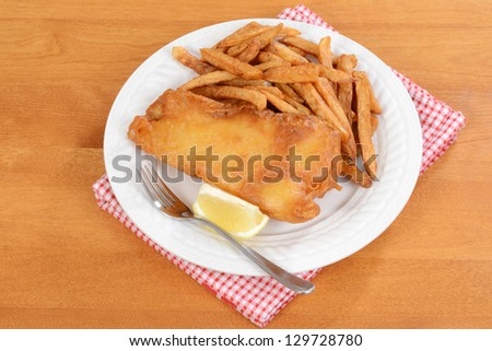 top view fish and chips - stock photo