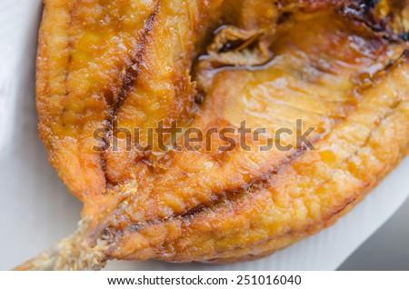top view  fish dish - deep fried fish - stock photo