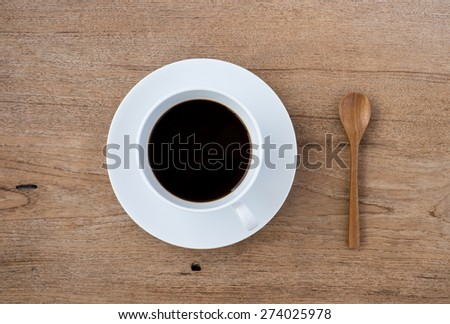 top view for cup of coffee - stock photo